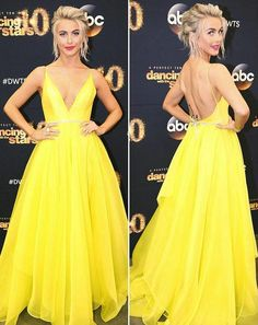 Yellow Sexy 2016 Celebrity Dresses For Women Party Julianne Hough Backless Deep V Neck A Line Chiffon Floor Length Evening Gowns Plus Size Dress Shopping Online Dresses Cheap From Bestdavid, $120.61| Dhgate.Com