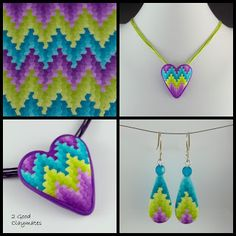 2 Good Claymates: Three color Bargello and Heart Brooch Pendant