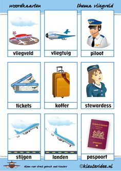 Word cards with theme airport - Thema op reis - taktak decor