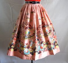 Vintage 50s Novelty Print Full Skirt Asian by LilBlackDressVintage