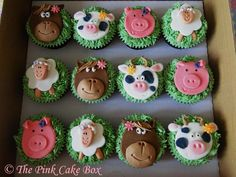 Celebration cakes in Matlock by The Pink Cake Box Farm Animal Cupcakes, Farm Animal Party, Ladybug Cupcakes, Cat Cupcakes, Easter Cupcakes, Farm Party, Snowman Cupcakes, Cupcake Tier, Cupcake Birthday Cake