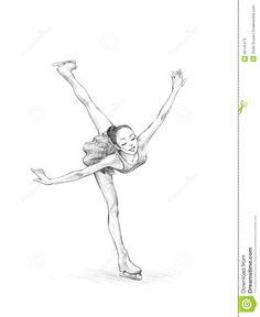Ballet Drawings, Dancing Drawings, Art Drawings Sketches, Cute Drawings, Ice Skate Drawing, Figure Skating Quotes, Skating Pictures, Sports Drawings, Skate Art
