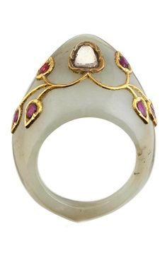 India | Diamond and ruby set jade archery ring | ca. 19th century or later | 2'500£ ~ sold (Oct '12)