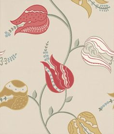 Isfahan Tulip (W6490-06) - Osborne & Little Wallpapers - A trail of stylised large scaleTulip flowers. Shown in tomato red, white and mustard with green detail on a soft beige background. Please request sample for true colour match.