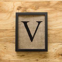 Letter V - alphabet art, burlap wall decor, monogram. $20.00, via Etsy.