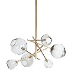 Molten Chandelier in Brass (Smoke Glass)