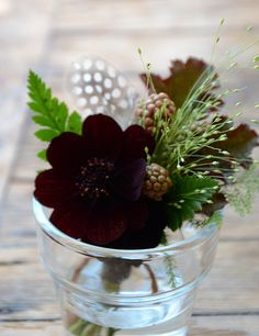 Chocolate cosmos, black berries, and celebration grass