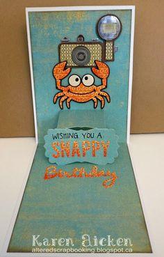 Karen Aicken using the Pop it Ups Lucy Label, Rocky the Crab and Happy Birthday die sets by Karen Burniston for Elizabeth Craft Designs.  - C4C275  Water Scene
