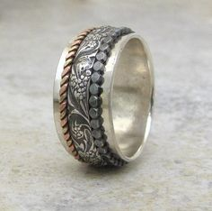 Silver Spinner Ring Floral Spinner Ring Dot by SilverSmack on Etsy