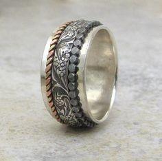 Spinner Ring Floral Spinner Ring Dot Messing Kupfer von SilverSmack