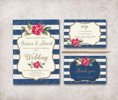 Nautical Wedding Invitation Printable Striped by tranquillina