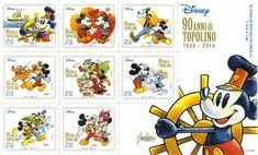 Mickey is celebrating his birthday with the issuance of a special stamp and a sheet containing 8 different designs signed by Giorgio Cavazzano. Mickey Mouse Characters, Disney Characters, Ub Iwerks, Italian Sculptors, Steamboat Willie, Disney Artists, Disney Theme, 90th Birthday, Stamp Collecting