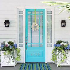 turquoise front door, porch