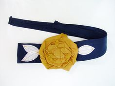 Navy Blue with gold rosette headband, head wrap, San Diego Chargers, WVU, St. Louis Rams, ETSU, Notre Dame, School Colors on Etsy, $16.00