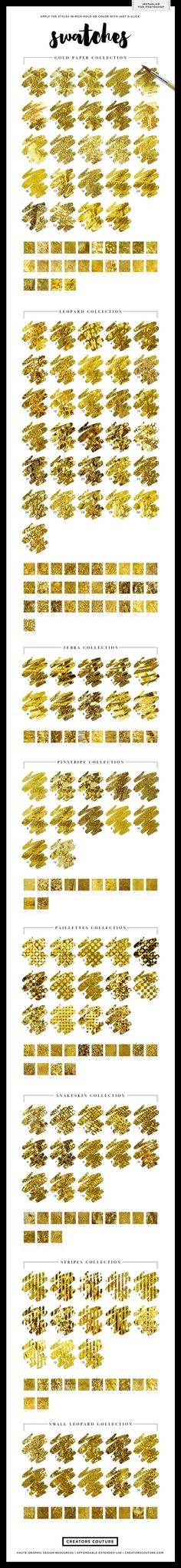 Gold Foil Textures InstaGlam Styles by Creators Couture on Creative Market http://crtv.mk/q0MCZ. Glamorous 1-click styles for Photoshop or Illustrator. Add realistic gold foil effects to your hand lettering and watercolor illustrations, wedding invitations, holiday designs, etsy prints, printables and more! For graphic design and illustration.