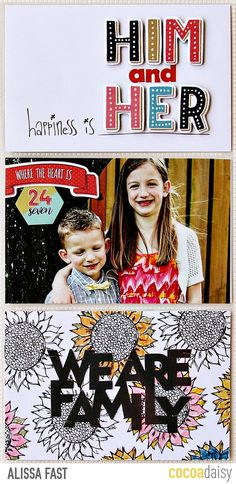 Him and Her, by Alissa Fast using the Summer Fields collection from www.cocoadaisy.com #cocoadaisy #kitclub #scrapbooking #DITL #projectlife #pocketpages #diecuts #coloring #stickers