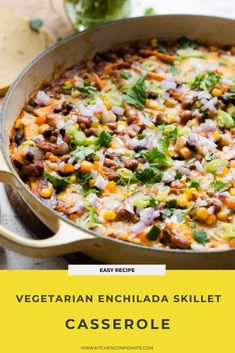 Vegetarian Enchilada Skillet Casserole – the quicker, easier way to make enchiladas! Cheesy, flavorful vegetables, black beans, and pinto beans are delicious in this easy summer vegetable recipe, no rolling required! Bhg Recipes, Southern Recipes, Dinner Recipes, Southern Food, Dinner Ideas, Vegetarian Enchilada Casserole, Enchilada Recipes, Vegetarian Recipes Easy, Healthy Recipes
