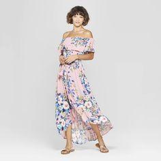 Women's Floral Print Off the Shoulder High-Low Hem Maxi Dress - Xhilaration Mauve XS, Size: XS, Purple Mauve, Black Skirt Outfits, Honeymoon Outfits, Floral Maxi Dress, Ladies Dress Design, Feminine Style, Cute Fashion, Floral Prints, Summer Dresses