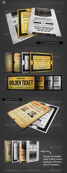 Golden Silver Invitation Template Bundle - Invitations Cards & Invites