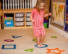 Run to the shape called. Fun inside game! Could do with sidewalk chalk outside as well.  Great for colours too.