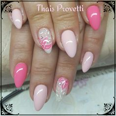 Nails fllowers pink