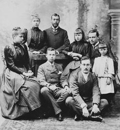 Left to right: Princess Victoria Melita of Edinburgh; Princess Marie of Edinburgh; Prince George of Wales; Prince Alfred of Edinburgh, seated; Princess Alexandra of Edinburgh; Prince Maximilian of Baden; Hereditary Grand Duke Ernst Ludwig of Hesse; Queen Victoria Family, Victoria And Albert, Princess Victoria, Princess Alexandra, Princess Beatrice, Princess Alice, Victoria's Children, Ludwig, Kaiser