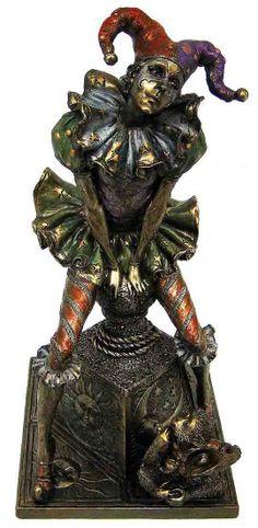 Venetian Jester & Monkey Statue.