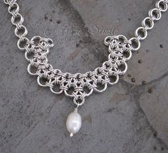 Sterling Silver Chainmaille Necklace by ErganeStudio on Etsy
