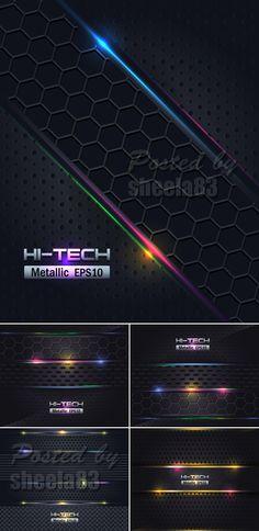 Hi-Tech Metallic Backgrounds Vector