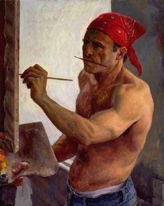 Jon deMartin self-portrait painting in artist studio Artist Art, Artist At Work, Figure Painting, Painting & Drawing, Art Of Man, Arte Popular, Gay Art, Portrait Art, Self Portrait Drawing