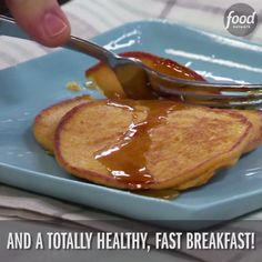 Katie's flourless pancakes are made of quick oats, sweet potato puree and a pinch of cinnamon. They're the perfect healthy fall breakfast!