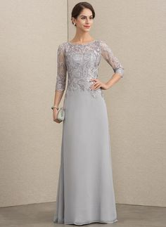 A-Line/Princess Scoop Neck Floor-Length Chiffon Lace Mother of the Bride Dress - Mother of the Bride Dresses - JJ's House Bride Groom Dress, Bride Gowns, Vestidos Fashion, Fashion Dresses, I Dress, Lace Dress, Mother Of The Bride Dresses Long, Chiffon Evening Dresses, Floor Length Dresses