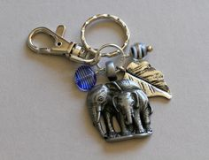 Antiqued Pewter Elephants and  Blue Bead Dangling Charm by Karenda (Accessories, Keychains & Lanyards, Keychains, long dangling, purse hook, key chain, beaded keychain, dangling keychain, large key keychain, dangle keychain, charm keychain, silver key chain, elephant key chain, elephant key ring, blue key ring)