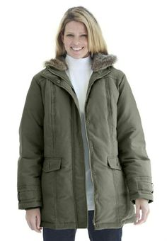 Save $30.00 on Women's Plus Size Coat, faux-fur hooded microfiber parka; only $139.56