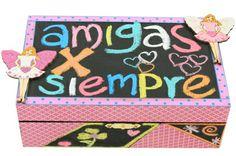 Caja de madera con pintura para pizarrón / amigas por siempre