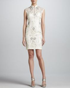 Beaded Cap-Sleeve Dress by Sue Wong at Neiman Marcus. - another dress for me?