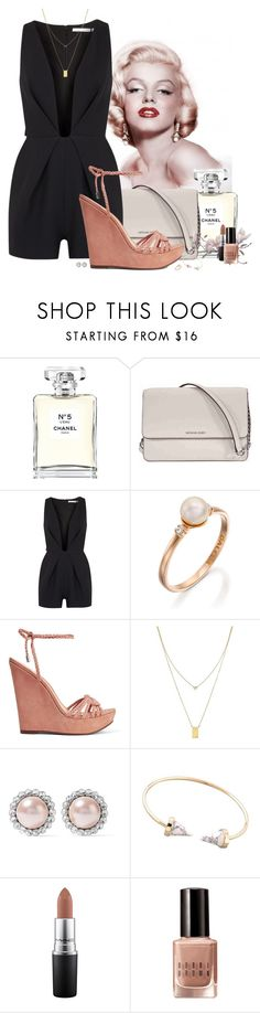 """""""My Summer Night"""" by spells-and-skulls ❤ liked on Polyvore featuring Chanel, Michael Kors, Finders Keepers, Schutz, Botkier, Miu Miu, MAC Cosmetics, Bobbi Brown Cosmetics, Wedges and jumpsuit"""