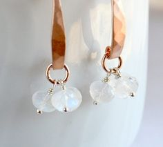 Rainbow moonstone rondelle earrings rose gold by KahiliCreations