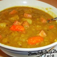 I have had a bag of split peas in my pantry for months, waiting for it to get cool enough to make this soup. I am the only one in my family who loves pea soup, so I will freeze the leftovers and enjoy it all winter. This soup is so much heartier than the average pea soup...hope you'll give it a try...I just love it...  My photos