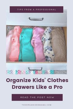 As a professional organizer, I get asked easy ways for organizing kids' clothes drawers. I'm sharing my step-by-step process here! Clothes Drawer Organization, Kids Bedroom Organization, Small Space Organization, Kids Dressers, Kid Closet, Declutter Your Home, Inspiration For Kids, Decluttering, Storage Solutions