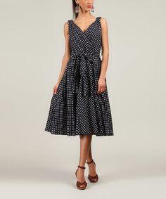 Another great find on #zulily! Navy Polka Dot A-Line Dress #zulilyfinds