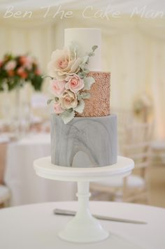 Marble and rose gold sequin wedding cake.
