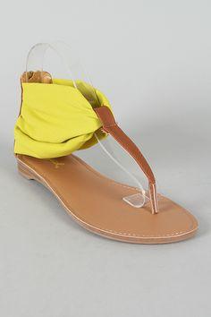 Qupid Agency-186 Chiffon T-Strap Flat Sandal