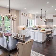 The Best Open Concept Kitchen Design Trends of 2018 Open concept kitchen- living room is perfect for small apartments but it also looks gorgeous in big spaces when the kitchen is connected with the dining room Living Room Kitchen, Home Decor Kitchen, New Kitchen, Home Kitchens, Kitchen Ideas, Kitchen Small, Dining Rooms, Large Kitchen Layouts, Narrow Kitchen