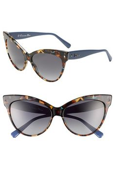 Womens Dior Mohotani 58mm Cat Eye Sunglasses - Spotted Havana $335.00 AT vintagedancer.com