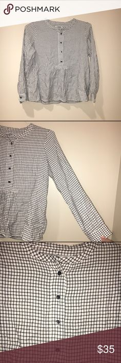 Madewell grid pattern shirt Only worn once!! In great condition and no flaws Madewell Tops Blouses