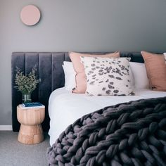 The Lincoln offers a contemporary bedhead design edge to your bedroom. Available in standard width or as a wider bedhead to sit in behind your side tables. Bedhead Design, Bed Heads, Headboards, Bedroom Inspiration, Side Tables, Merino Wool Blanket, Decoration, Lincoln, Contemporary Design