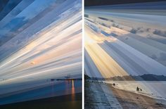 These photographs are from Fong Qi Wei's 'Time is a Dimension' series, and show digital slices of photographs taken over several hours at one location. The shots above show a seaside in sunrise, with the images organised together in a way that shows the changing light conditions.