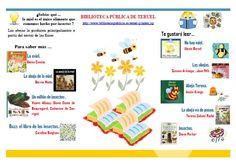 """""""¿Sabías qué ... la miel es el único alimento que comemos hecho por insectos?"""" Aprende más, sobre la miel y las abejas: folleto sobre la materia"""