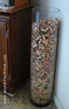 Wine corks on display... Or maybe it's just a clear trash can